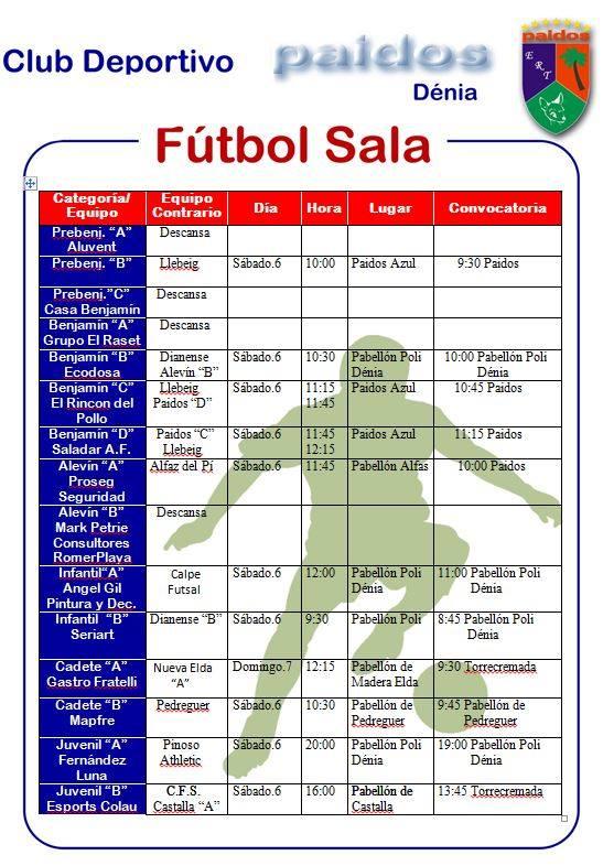 Horarios CD Paidos Denia futbol sala 5 y 6 octubre