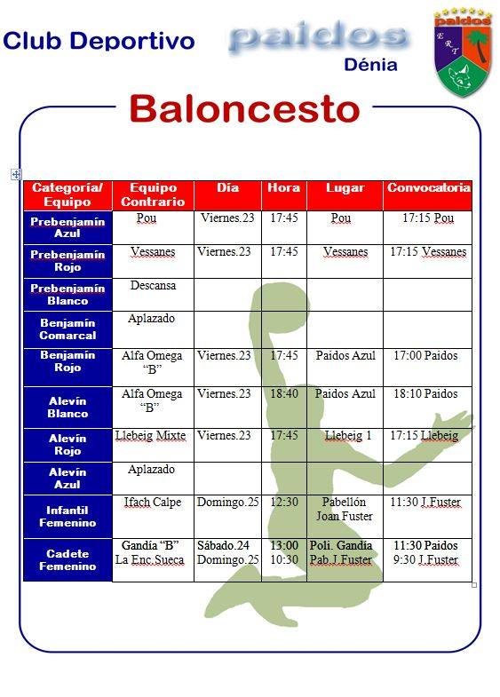Horarios CD Paidos baloncesto 24 y 25 de noviembre 2018