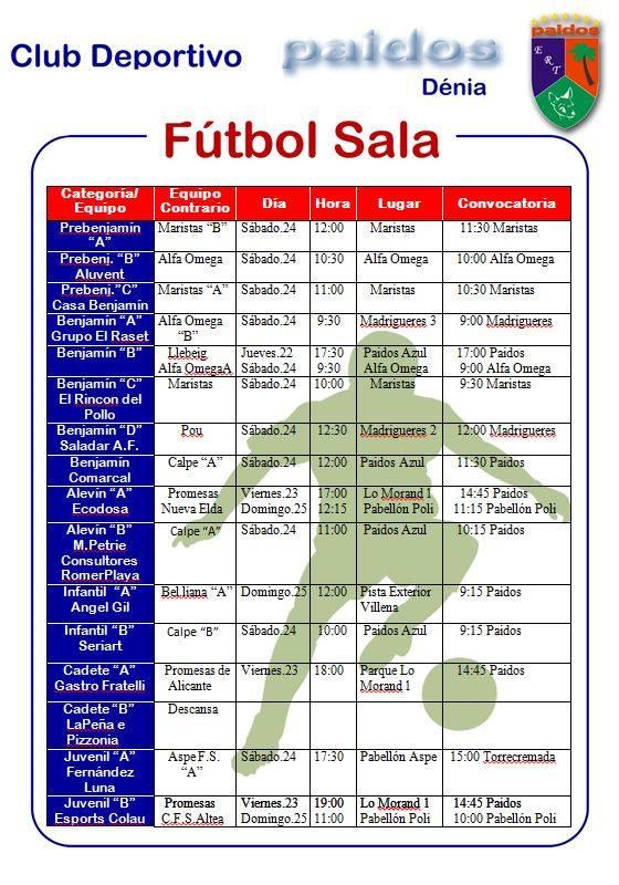 CD Paidos Horarios futbol sala 24 y 25 noviembre 2018