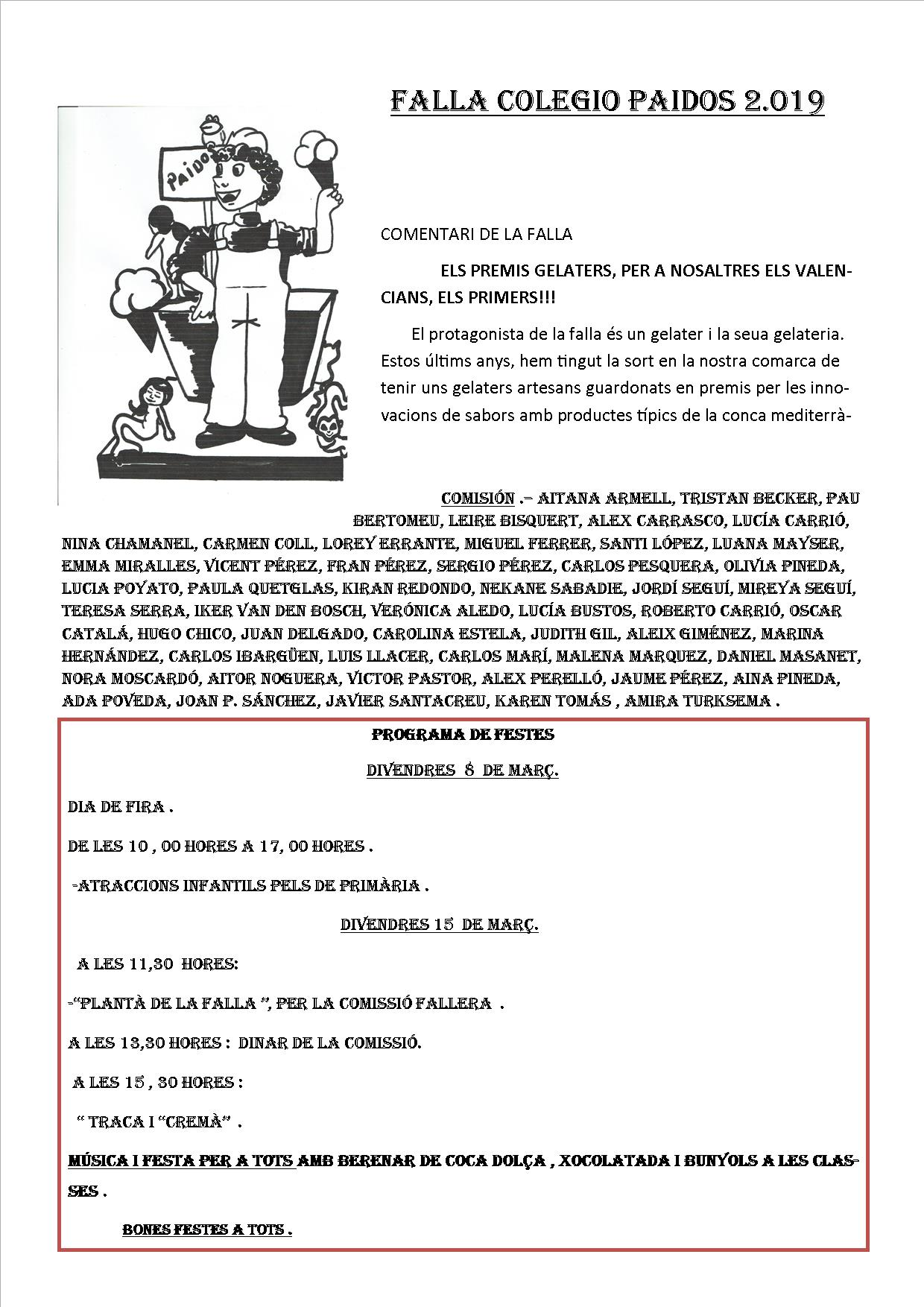 falla 2019 Paidos Denia