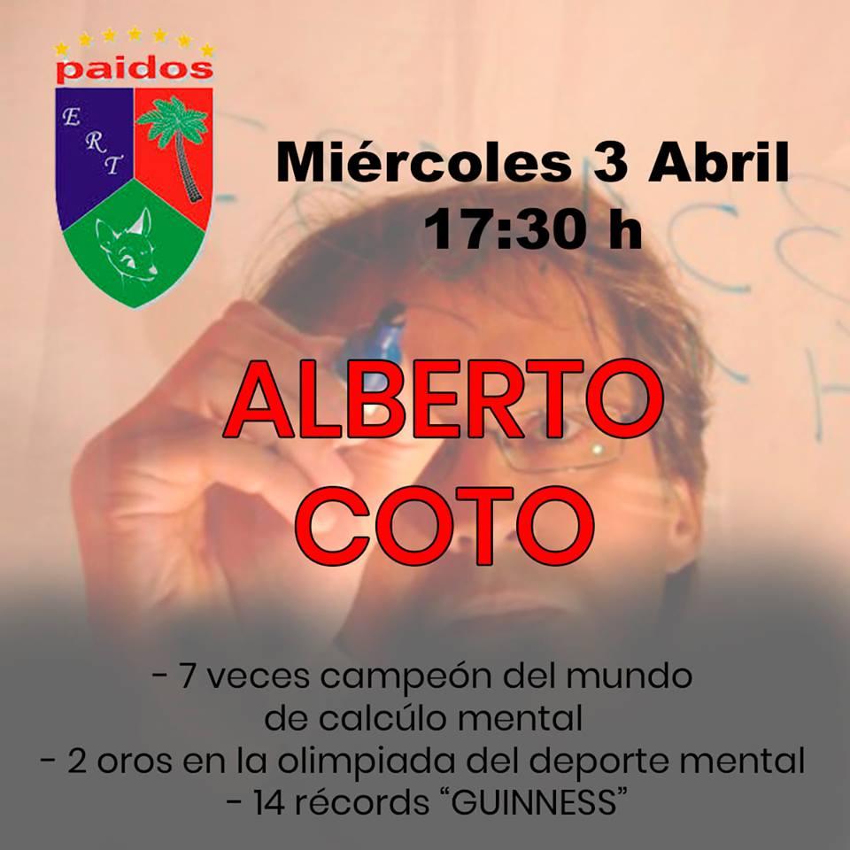 Charla en Paidos Denia de Alberto Coto campeón cálculo mental