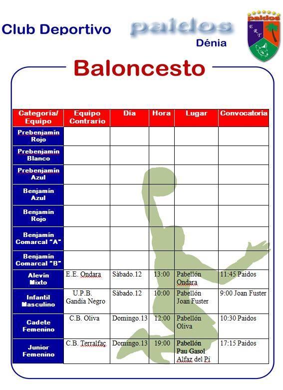 CD Paidos Horarios fútbol sala y baloncesto 12 y 13 octubre