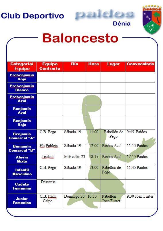 Paidos jornada liga fútbol sala y baLoncesto