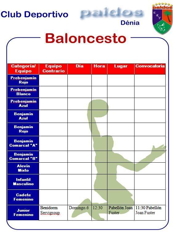 Horarios fútbol sala y Basquet 5 y 6 de octubre