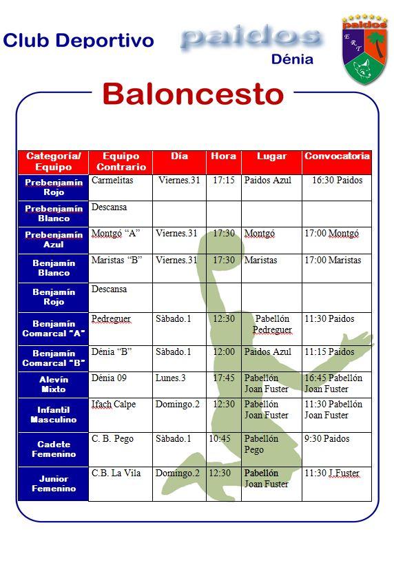 Baloncesto CD Paidos horarios
