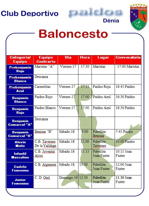 Baloncesto CD Paidos horario
