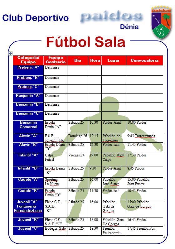 Futbol sala jornada 25 enero